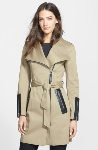 Mackage - Leather Trim Asymmetrical Zip Long Trench Coat $390