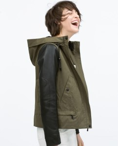 Zara - Hooded Parka with Leather Sleeves $99.90